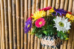 Fake fabric flowers on bamboo wall Stock Photos