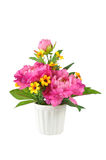 Colorful Artificial Flower Arrangement. On white background Royalty Free Stock Images