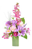 Colorful Artificial Flower Arrangement. On white background Royalty Free Stock Image