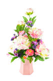 Colorful Artificial Flower Arrangement. On white background Stock Photos
