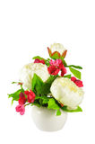 Colorful Artificial Flower Arrangement. On white background Royalty Free Stock Photos