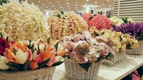 Colorful artificial flowers decoration. stock video