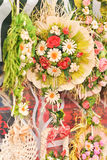Colorful artificial flowers decorations. Decorative arrangement of various flowers at Romanian market Stock Image