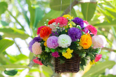 Colorful artificial flowers Stock Photo