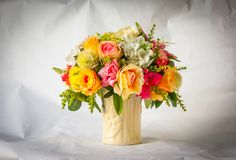 Colorful artificial flowers Royalty Free Stock Photos