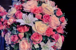 Colorful of artificial flowers, vintage filter effect Stock Photo