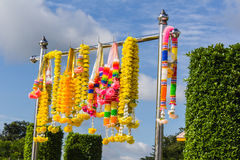 Colorful artificial garland for place of worship Stock Photography
