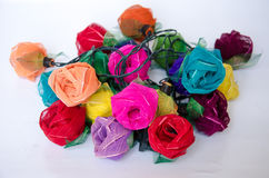 Colorful of artificial rose for decoration Stock Images
