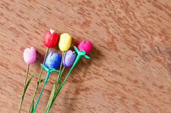 Colorful artificial tulips flower made from silk cocoon Stock Images