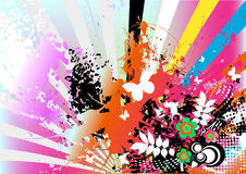 Colorful artistic background. A colorful and artistic background with rainbow and floral designs Stock Images
