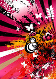 Colorful artistic background. A colorful and artistic background with rainbow, butterflies and floral designs Stock Image
