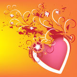 Colorful artistic background. A colorful and artistic background with flowers and pink heart Royalty Free Stock Photo