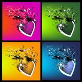 Colorful artistic background. Artistic backgrounds with flowers and colorful hearts Stock Image