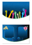 Colorful artistic backgrounds. Two dark blue artistic backgrounds with hands raised and floral designs Stock Images