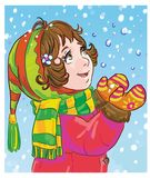 Funny little girl looking at the snow falling from the sky. Colorful artistic illustration of a cartoon girl playing with the snow royalty free illustration