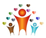 Love your children. Colorful artistic illustration of symbols for a parent and two children surrounded in the air with tiny heart shapes in two colors or two stock illustration