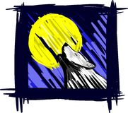 Colorful Artistic wolf howling at the moon Stock Photos