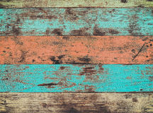 The colorful artwork painted on wood material. For vintage wallpaper background Royalty Free Stock Photos