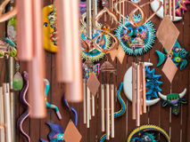 Colorful artwork for sale. Wind chimes and various other artistic pieces for sale Stock Photos