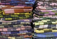 Colorful asia fabrics Stock Images