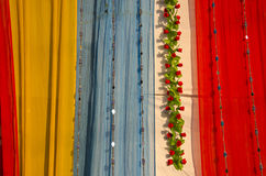Colorful asian cloth and garland background Royalty Free Stock Photos