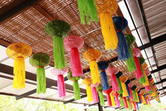 Colorful asian lanterns. Decoration building Royalty Free Stock Image