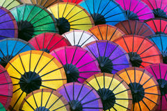 Colorful Asian Umbrellas at Night Market in Luang Prabang, Laos Stock Photos