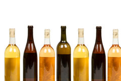 Colorful Assorted Bottles of Wine. Isolated on White Background royalty free stock photography