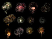 Colorful assorted fireworks selection on a black background. Royalty Free Stock Photo