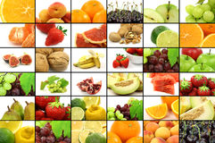 Colorful assorted fruit collage Stock Photos