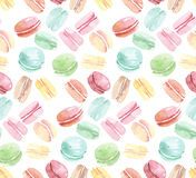 Colorful assorted macaroon seamless pattern. Stock Photos