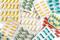 Colorful assorted pills and capsules Royalty Free Stock Photography