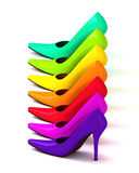 Colorful assortment of  high heel shoes Stock Photo