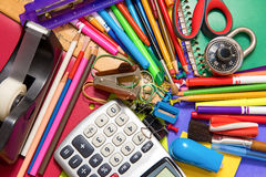 Colorful assortment of school supplies. Full background of a colorful assortment of school supplies Royalty Free Stock Images
