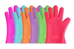 Colorful assortment of silicon kitchen gloves Stock Images