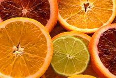 Colorful sliced citrus fruit Royalty Free Stock Photography