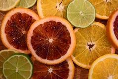 Colorful sliced citrus fruit Stock Photo