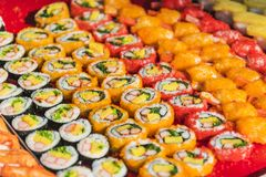 Colorful assortment of sushi rolls Stock Photography