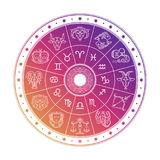 Colorful astrology circle design with horoscope signs isolated on white background. Vector zodiac horoscope astrological illustration Stock Photos