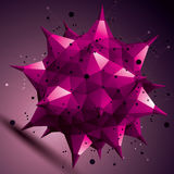 Colorful asymmetric 3D abstract object with connected lines and. Dots, purple geometric form with lattice structure Stock Image