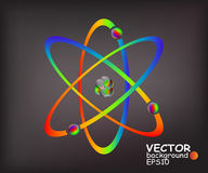 Colorful atoms. Simplified model of an atom with protons, neutrons and electrons Stock Photos