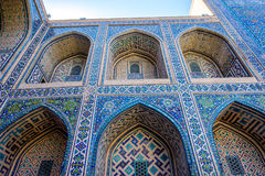 Colorful atrium in Samarkand Registan, Uzbekistan Royalty Free Stock Images