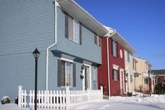 Colorful attached homes Stock Photography