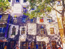 Colorful attraction of Wien - Hundertwasserhaus. Stock Photos
