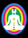 Colorful aura with all chakras of body. Illustration royalty free illustration