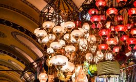 Colorful authentic and traditionally handmade lanterns, chandeliers or mosaic lamps selling on the Turkish Grand Bazaar in Istanbu. L, Turkey. Turkish or Royalty Free Stock Photo