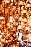 Colorful authentic and traditionally handmade lanterns, chandeliers or mosaic lamps selling on the Turkish Grand Bazaar in Istanbu. L, Turkey. Turkish or Royalty Free Stock Photography