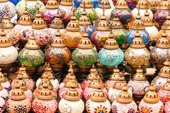 Colorful authentic and traditionally handmade lanterns, chandeliers or mosaic lamps selling on the Turkish Grand Bazaar in Istanbu. L, Turkey. Turkish or Royalty Free Stock Photos