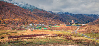 Colorful automn panorama with ancient Lamaria church. Stock Photo