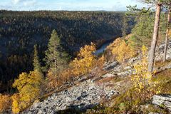Colorful Autum Valley in Taiga, Finland Royalty Free Stock Photos